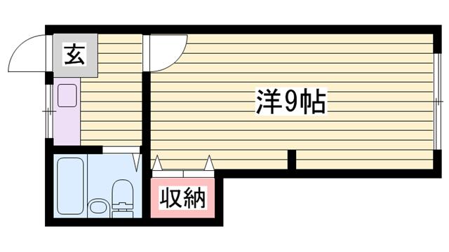 物件番号: 1115182652  姫路市東雲町5丁目 1K マンション 間取り図