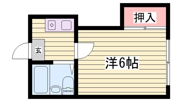 物件番号: 1115182672  姫路市伊伝居 1K ハイツ 間取り図
