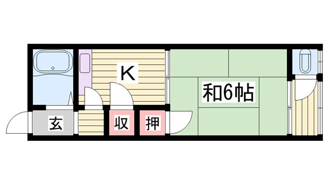 物件番号: 1115182852  加古川市尾上町池田 1K ハイツ 間取り図
