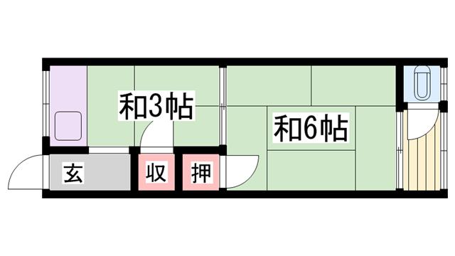 物件番号: 1115182853  加古川市尾上町池田 1K ハイツ 間取り図