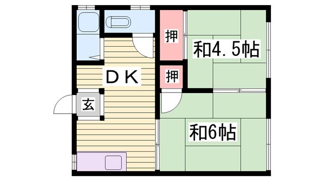 物件番号: 1115182863  加古川市尾上町長田 2DK ハイツ 間取り図