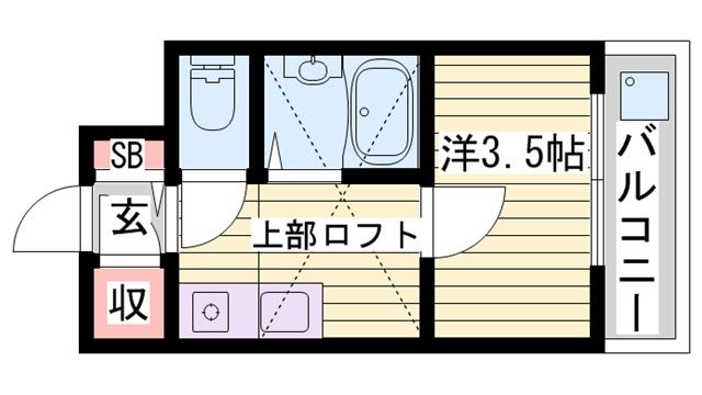 物件番号: 1115183011  姫路市田寺1丁目 1K マンション 間取り図