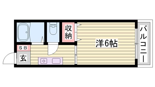 物件番号: 1115183108  姫路市飾磨区若宮町 1K ハイツ 間取り図