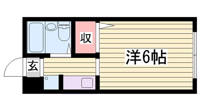 物件番号: 1115183568  姫路市書写 1K ハイツ 間取り図