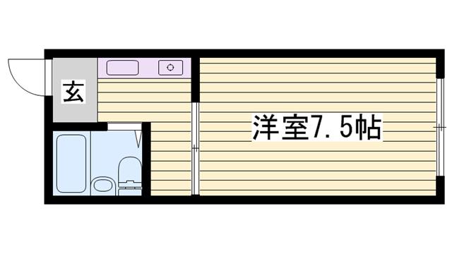 物件番号: 1115183598  姫路市八代本町1丁目 1K ハイツ 間取り図