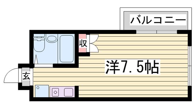 物件番号: 1115183754  姫路市新在家中の町 1R マンション 間取り図