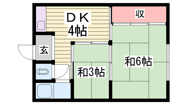 物件番号: 1115183767  姫路市八代本町1丁目 2DK ハイツ 間取り図