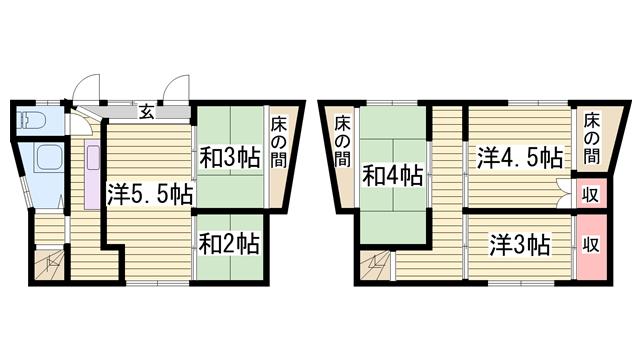物件番号: 1115183931  姫路市飾磨区恵美酒 6K 貸家 間取り図