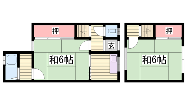 物件番号: 1115184093  姫路市網干区興浜 2K ハイツ 間取り図