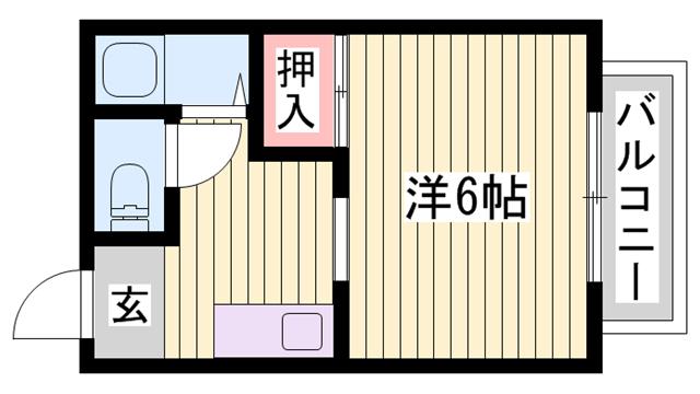 物件番号: 1115184257  加古川市平岡町新在家 1K ハイツ 間取り図