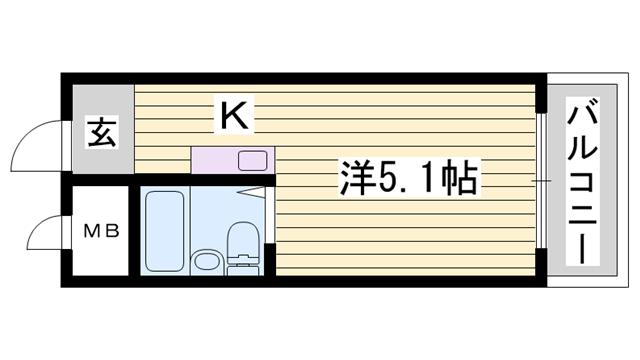 物件番号: 1115184262  姫路市北平野2丁目 1K マンション 間取り図