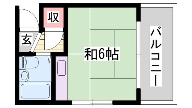 物件番号: 1115184274  姫路市飾磨区英賀春日町2丁目 1R ハイツ 間取り図