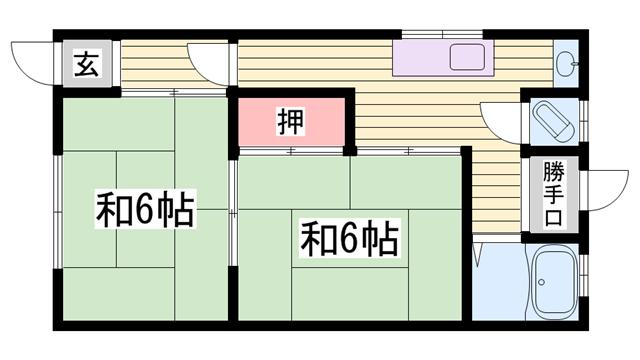 物件番号: 1115184285  姫路市余部区上余部 2K ハイツ 間取り図