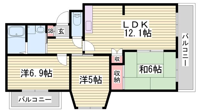 物件番号: 1115184291  姫路市嵐山町 3LDK マンション 間取り図