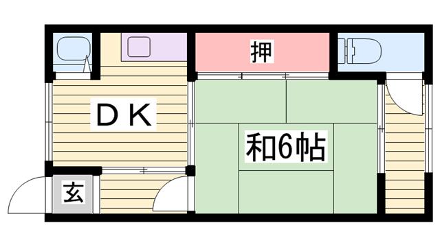 物件番号: 1115184449  姫路市大津区天神町2丁目 1DK 貸家 間取り図