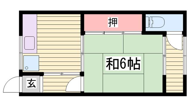 物件番号: 1115184450  姫路市大津区天神町2丁目 1DK 貸家 間取り図