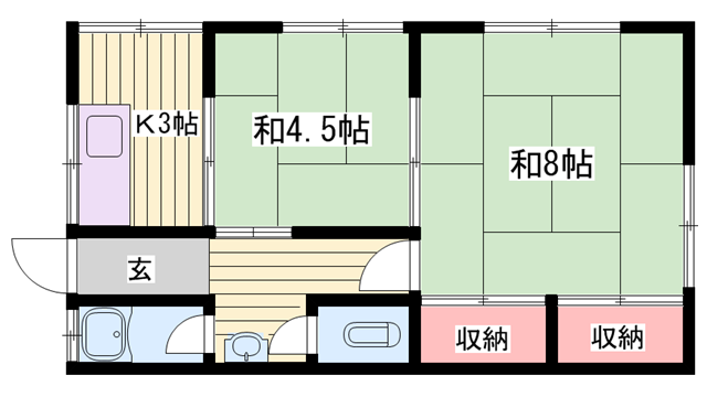物件番号: 1115184484  加古川市尾上町養田 2K ハイツ 間取り図