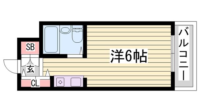 物件番号: 1115184513  加古川市平岡町新在家1丁目 1R マンション 間取り図