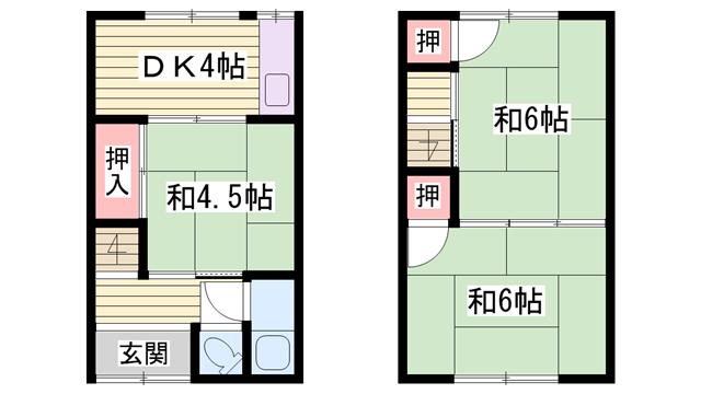 物件番号: 1115184634  姫路市網干区大江島 3DK ハイツ 間取り図