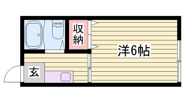 物件番号: 1115184651  姫路市神子岡前1丁目 1K ハイツ 間取り図