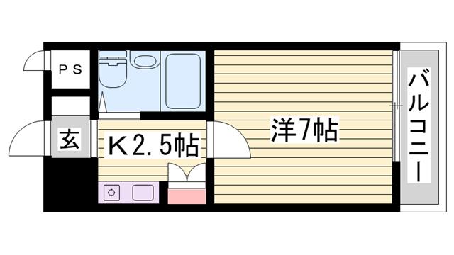 物件番号: 1115184709  加古川市平岡町新在家2丁目 1K マンション 間取り図