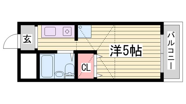 物件番号: 1115184710  加古川市平岡町新在家 1R マンション 間取り図