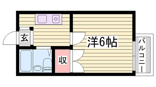 物件番号: 1115184813  姫路市青山4丁目 1K ハイツ 間取り図