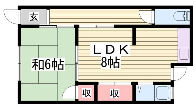 物件番号: 1115184840  加古川市尾上町池田 1LDK ハイツ 間取り図