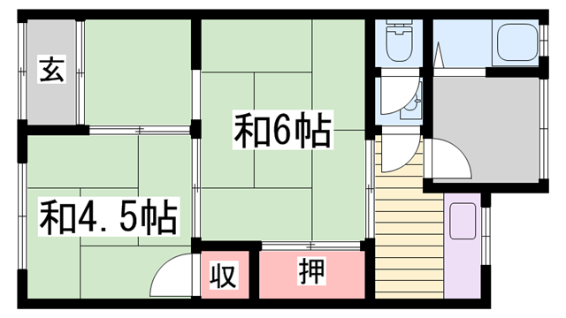 物件番号: 1115184845  加古川市尾上町口里 2K ハイツ 間取り図