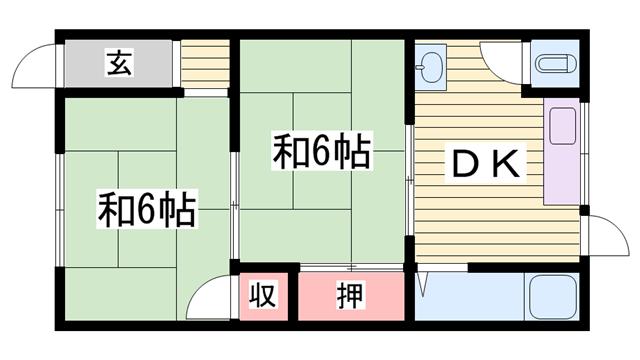 物件番号: 1115184853  加古川市尾上町養田 2DK ハイツ 間取り図