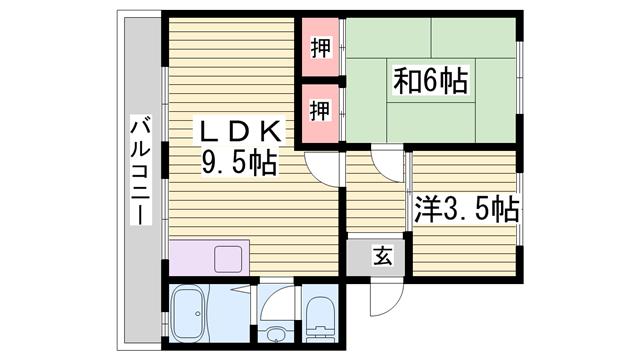 物件番号: 1115184887  姫路市網干区坂上 2LDK マンション 間取り図