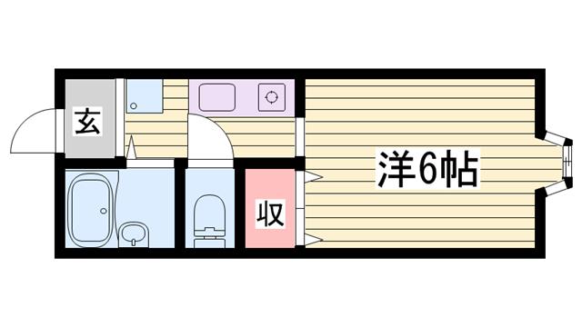 物件番号: 1115184940  姫路市北平野南の町 1K ハイツ 間取り図