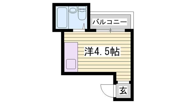 物件番号: 1115185073  姫路市野里慶雲寺前町 1K マンション 間取り図
