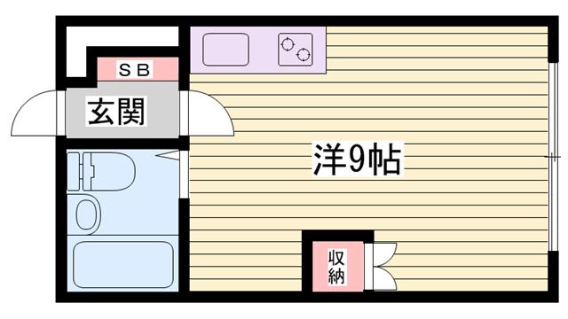 物件番号: 1115185091  姫路市伊伝居 1R マンション 間取り図