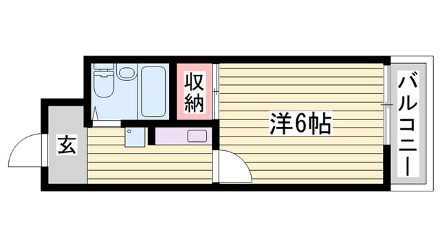 物件番号: 1115185246  姫路市北平野4丁目 1K マンション 間取り図