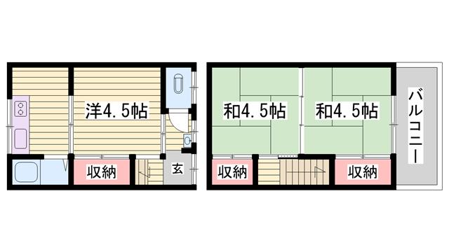 物件番号: 1115185359  姫路市飾磨区中島 3K ハイツ 間取り図