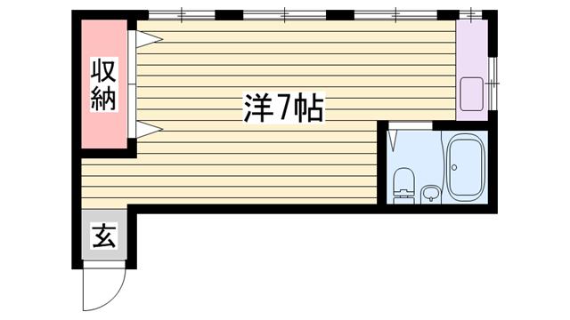物件番号: 1115185751  姫路市御立西2丁目 1R マンション 間取り図