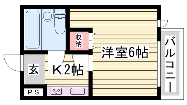 物件番号: 1115185870  姫路市東延末 1K マンション 間取り図