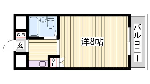 物件番号: 1115186082  姫路市梅ケ谷町2丁目 1K マンション 間取り図