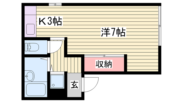 物件番号: 1115186618  姫路市西中島 1K ハイツ 間取り図
