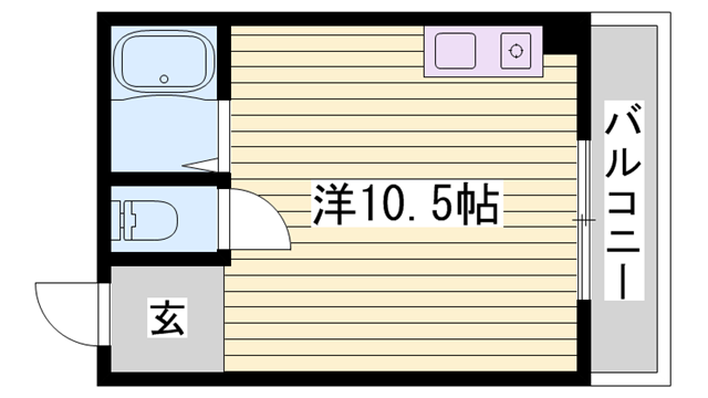 物件番号: 1115186620  姫路市西八代町 1R マンション 間取り図
