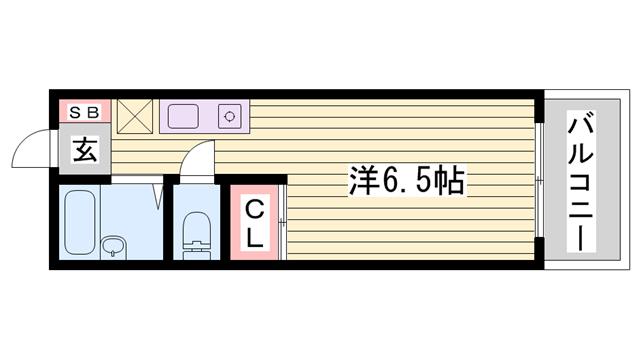 物件番号: 1115186704  姫路市飾磨区高町2丁目 1K ハイツ 間取り図