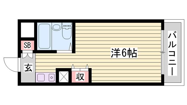 物件番号: 1115186931  姫路市北平野6丁目 1R マンション 間取り図