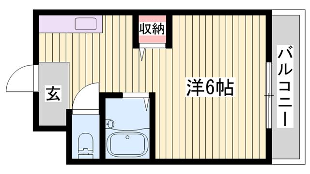 物件番号: 1115186968  姫路市白国4丁目 1K マンション 間取り図