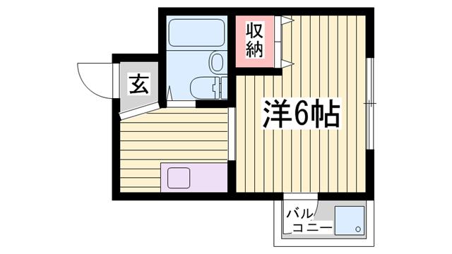 物件番号: 1115186976  姫路市野里寺町 1R マンション 間取り図