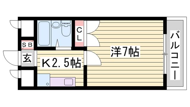 物件番号: 1115187287 サムデイ  姫路市白国5丁目 1K ハイツ 間取り図
