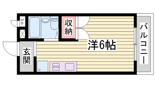 物件番号: 1115187338  姫路市書写 1R ハイツ 間取り図