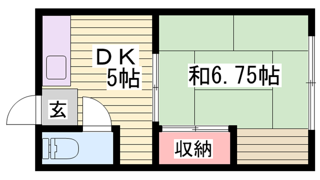 物件番号: 1115187712  姫路市城東町竹之門 1DK ハイツ 間取り図