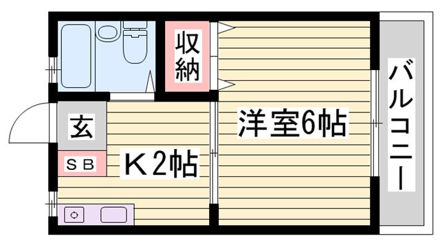 物件番号: 1115188008  姫路市新在家1丁目 1K ハイツ 間取り図