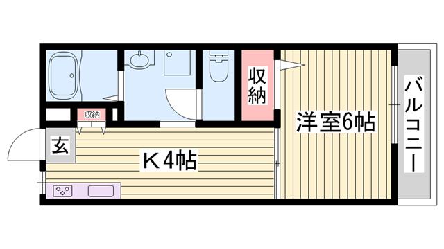 物件番号: 1115188197  姫路市上大野6丁目 1K ハイツ 間取り図
